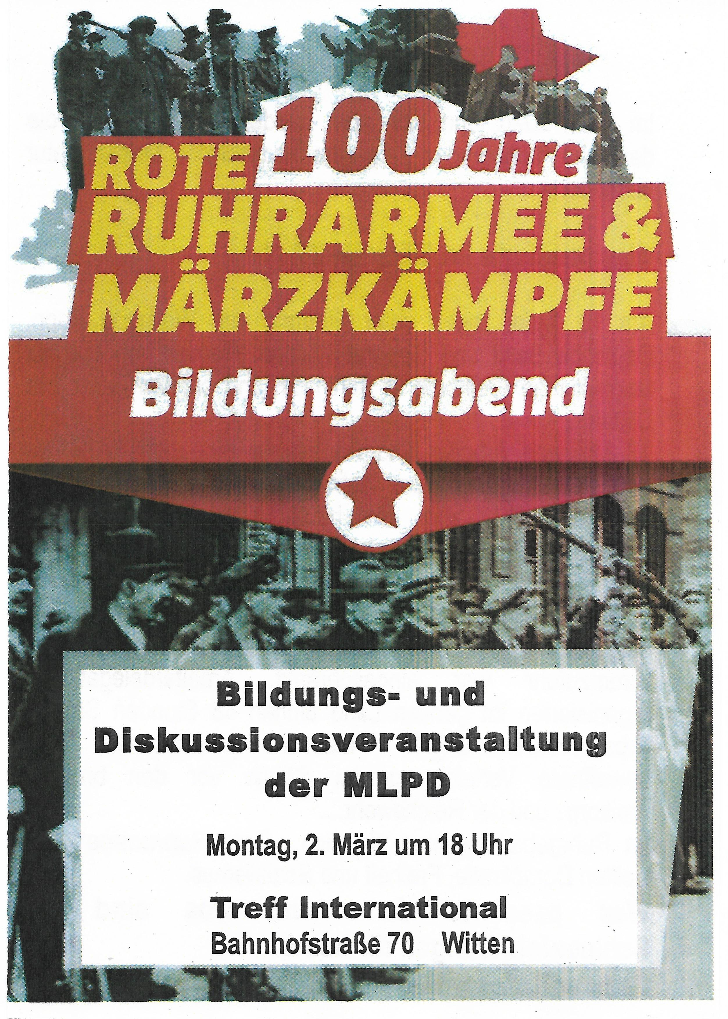 """100 Jahre Märzkämpfe und """"Rote Ruhrarmee"""""""