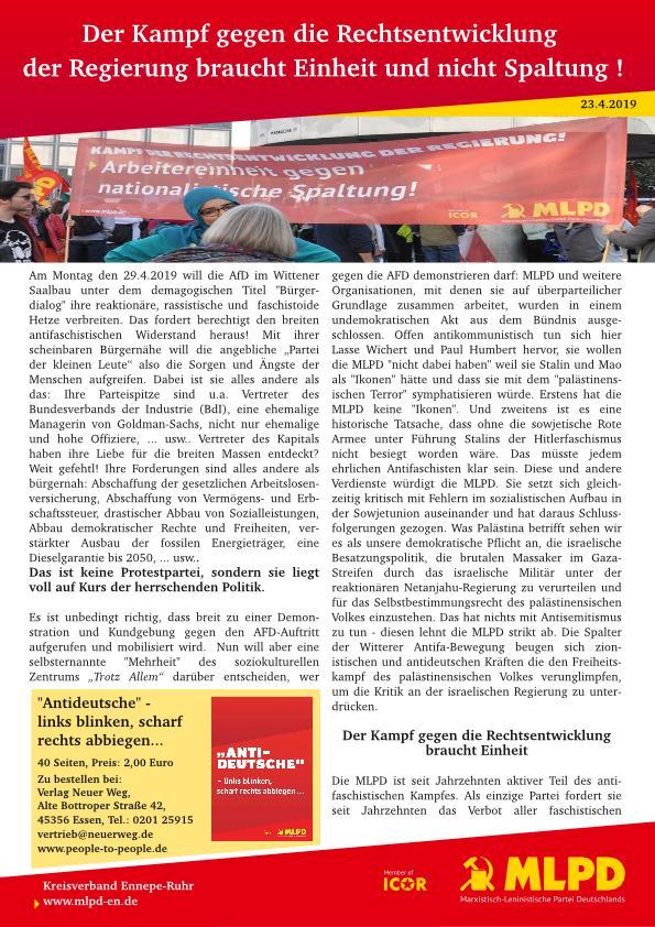Aufruf der MLPD zur Demo gegen die AFD am 29.4.2019