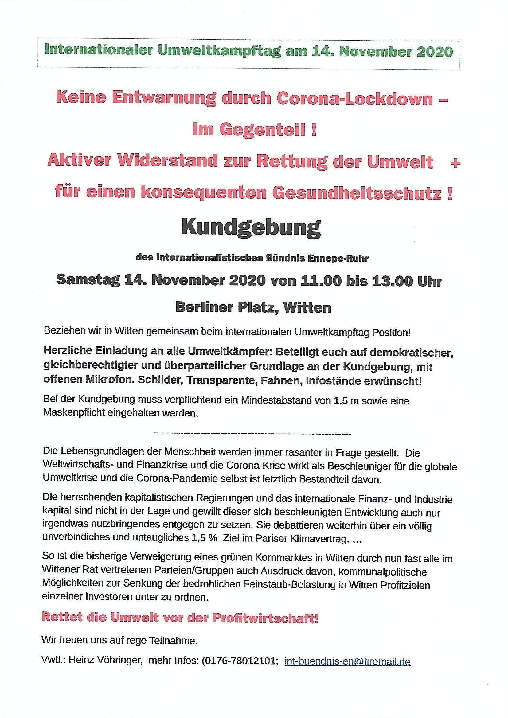 Kundgebung zum Internationalen Umweltkampftag in Witten