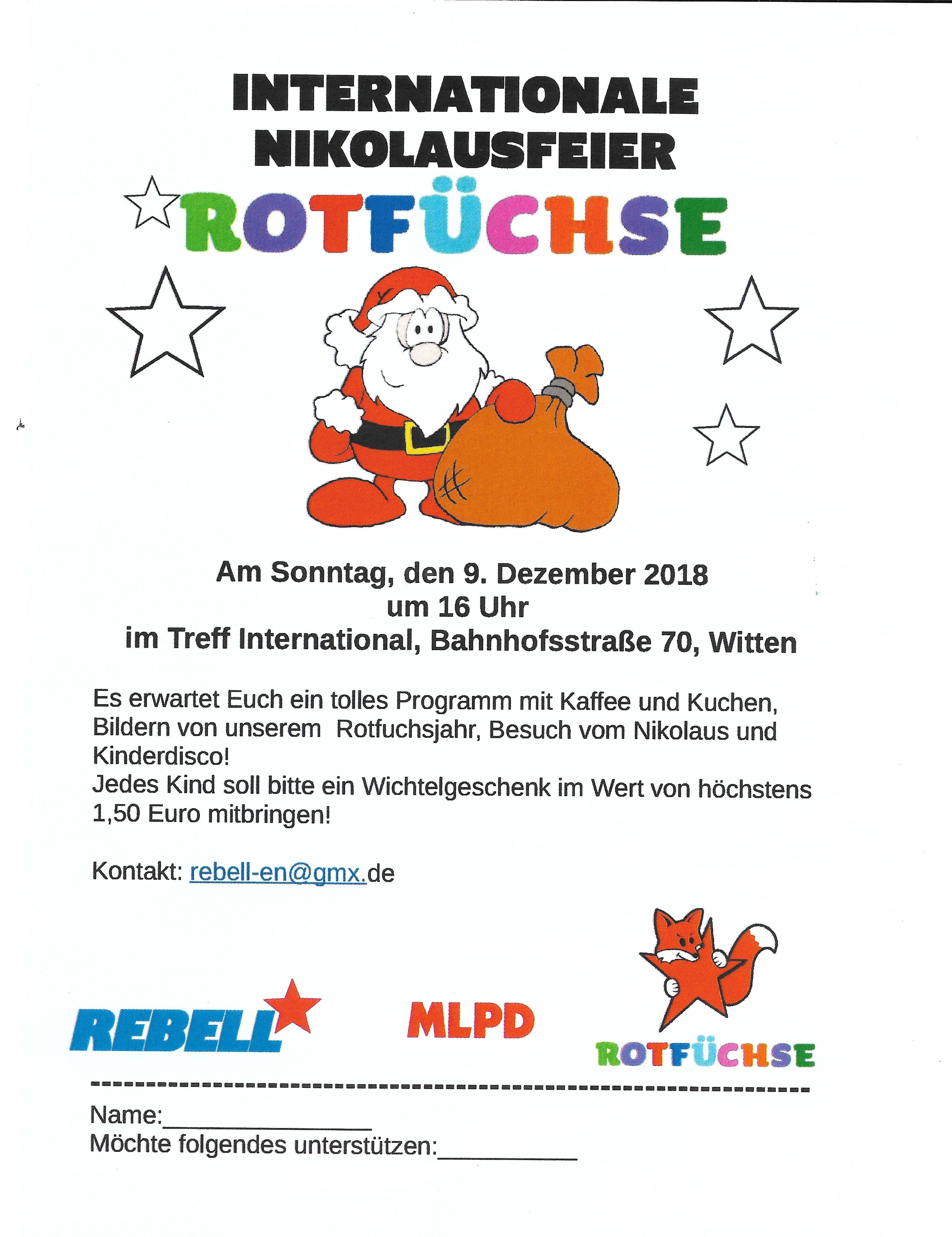 Rotfüchse laden zur Nikolausfeier ein